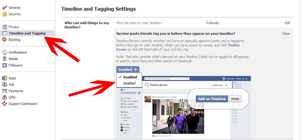 Facebook privacy settings_timeline and tagging